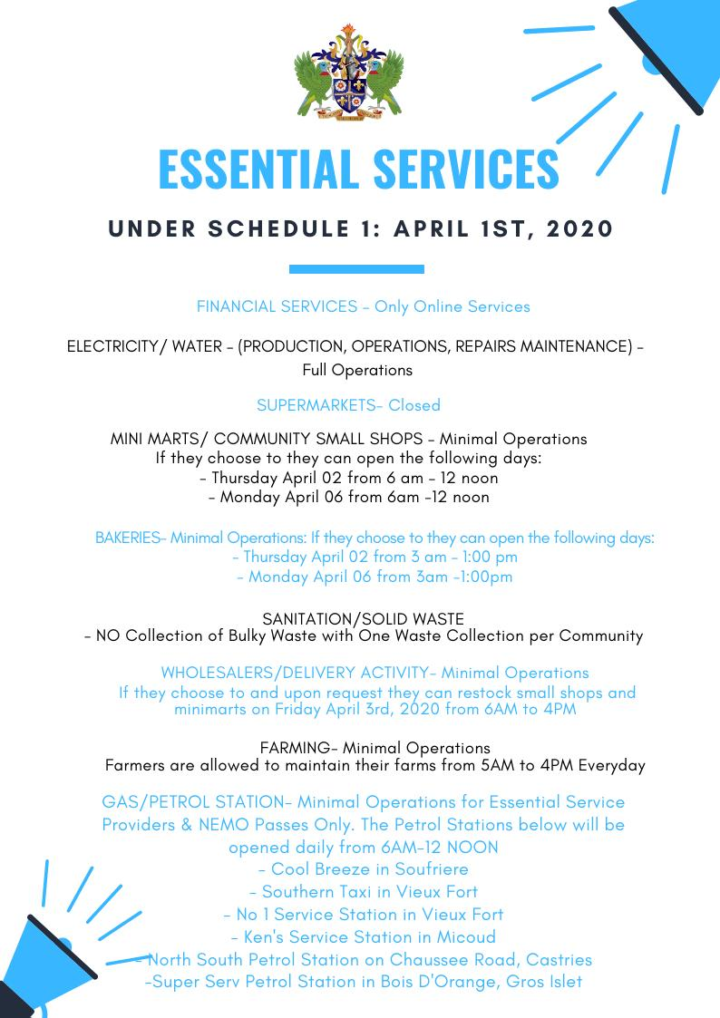 Essential Services - Under Schedule 1